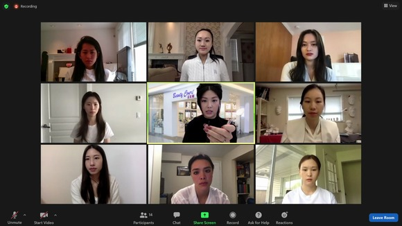 Miss Chinese Vancouver Pageant finalists participate at the first online makeup seminar